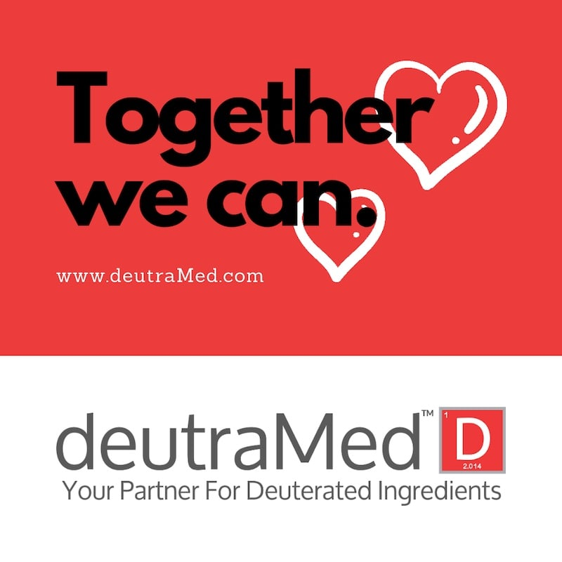 A image with deutraMed's logo and the Together We Can logo