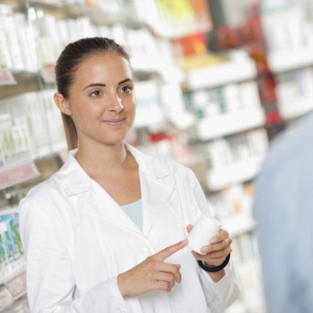 Pharmacist supplying medicine with deuterium
